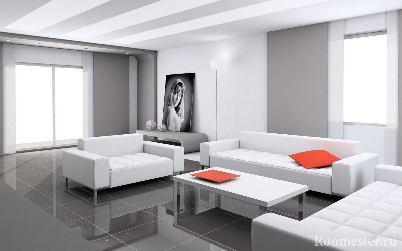 Кафельная плитка на полу гостиной