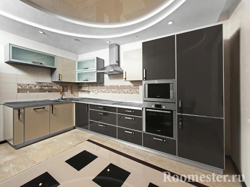 Черно-бежевый кухонный гарнитур