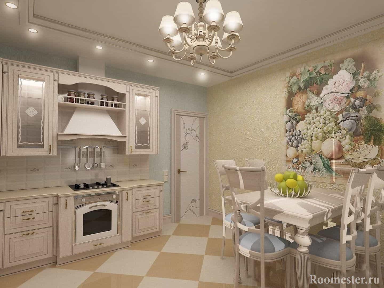 Кухня с фреской на стене