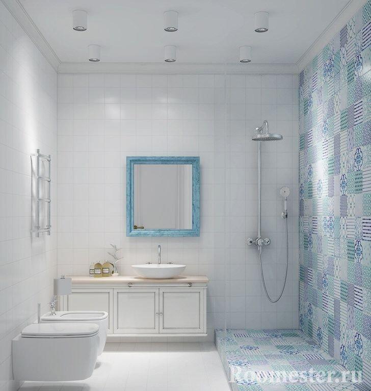 Душевая кабина в ванной в скандинавском стиле
