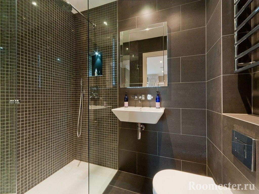 Ванная с душевой кабиной в коричневом цвете