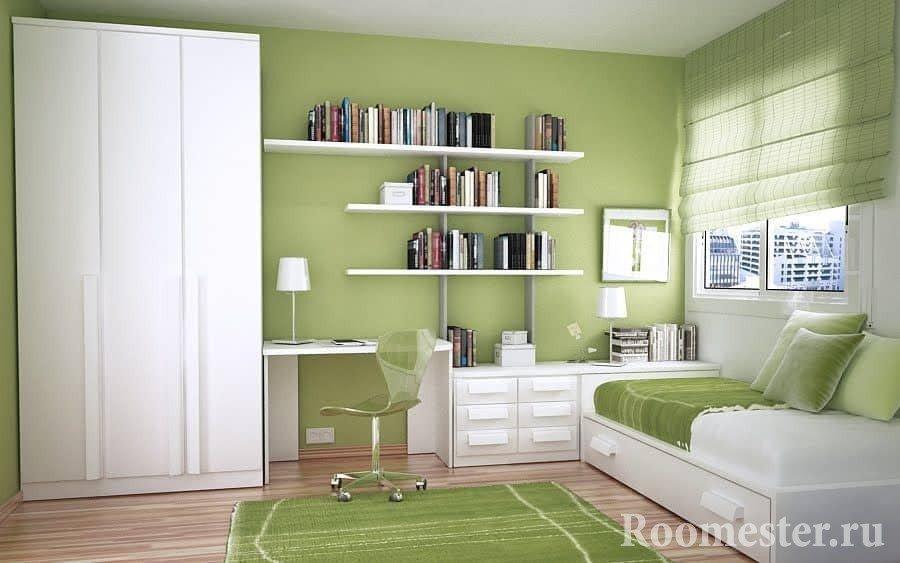 Зеленый и белый в детской