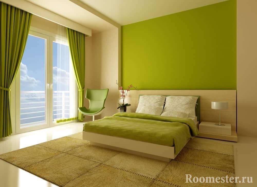 Спальня в салатово-зеленом цвете