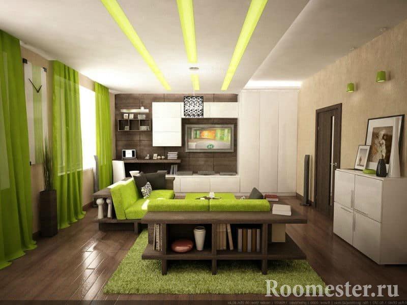 Гостиная в зеленом цвете