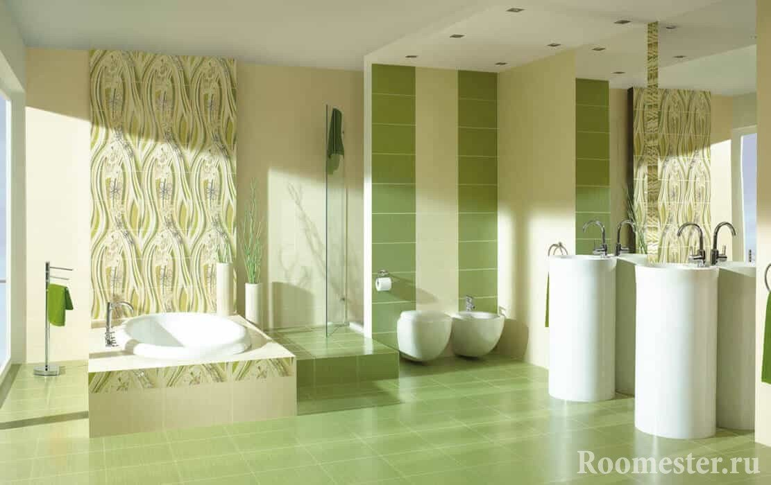 Светлая оливковая ванна