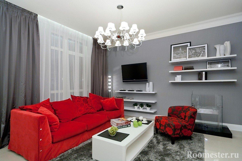 Серо-красная гостиная