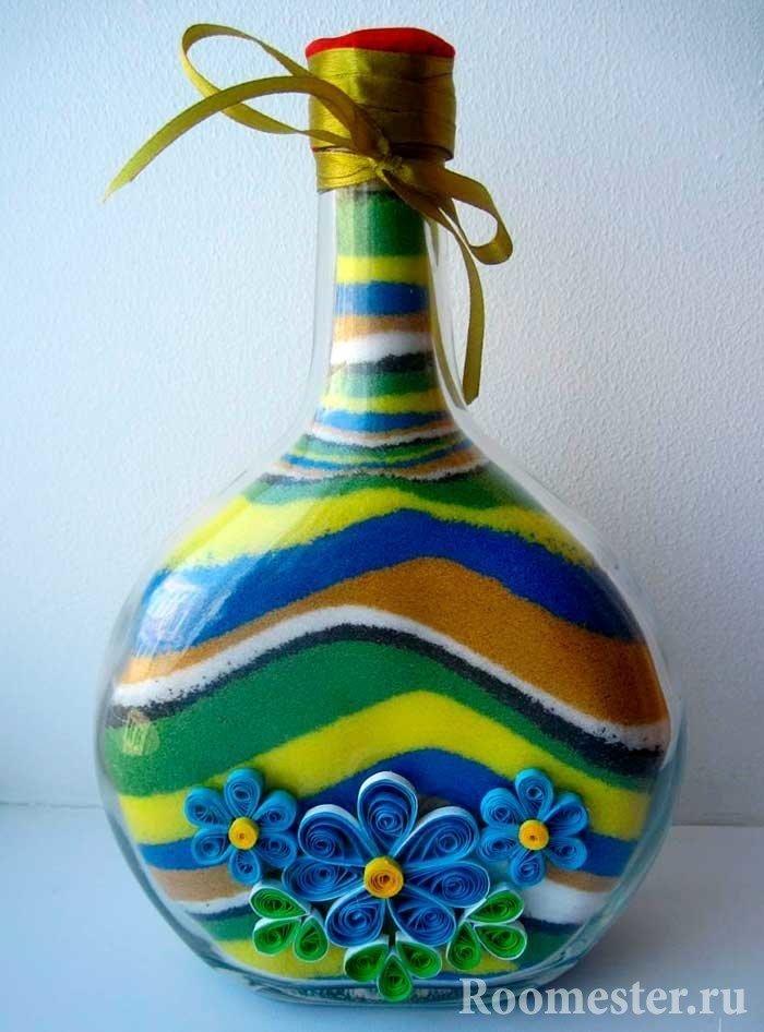 Цветной песок в бутылке своими руками 564