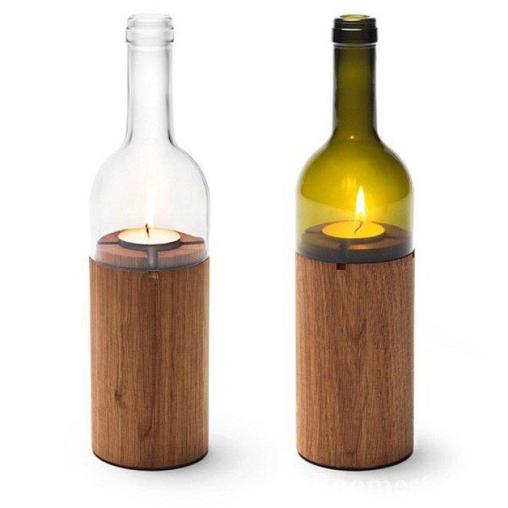 Подсвечник из дерева и бутылки