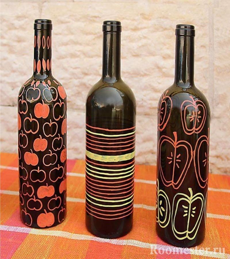 Идеи росписи бутылок из под вина