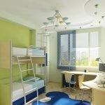 Потолок с разноцветными светильниками