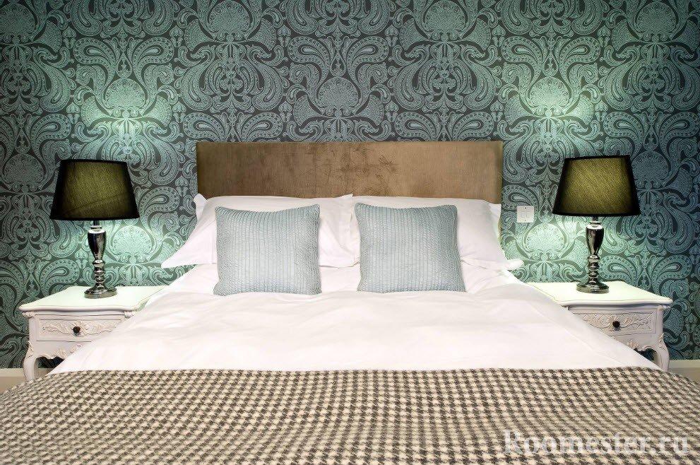 Дизайн спальни с обоями