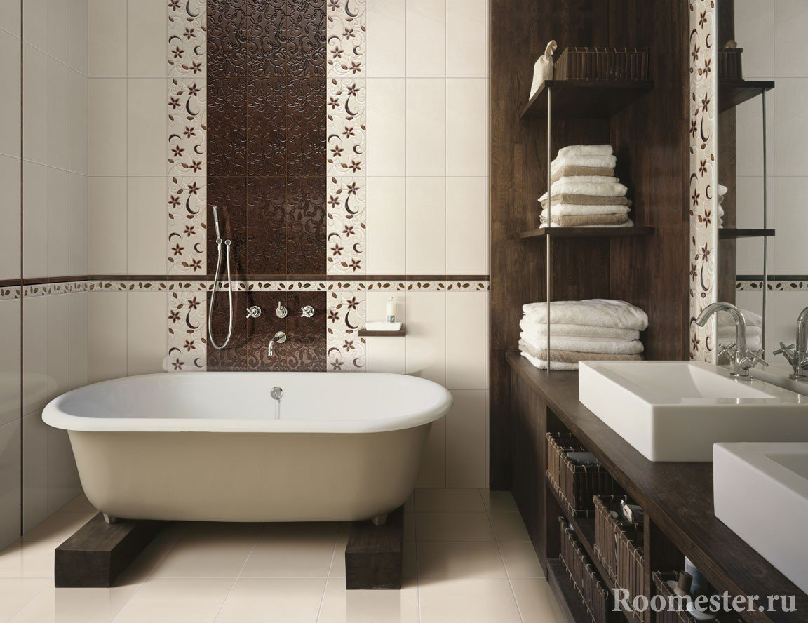 Brown and beige colors in the bath