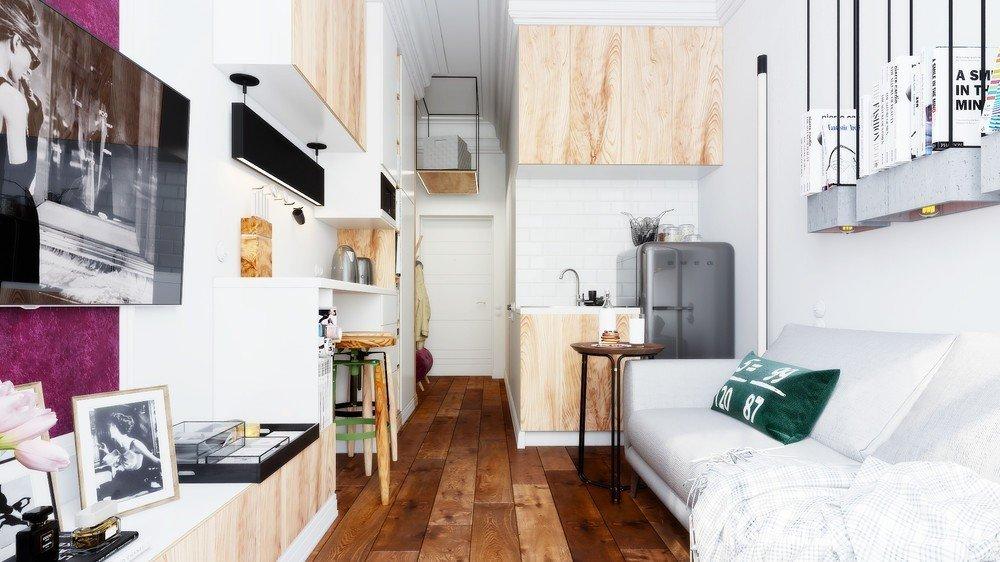Узкая студия с высокими потолками