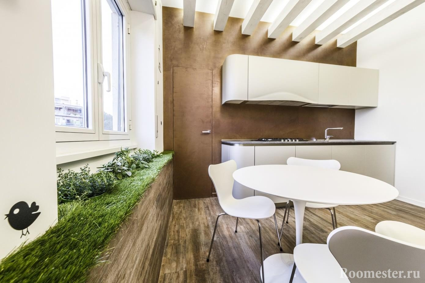 Зеленая зона в кухне для эко стиля