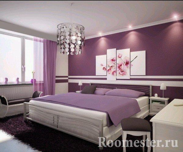 Фиолетовые цвета в интерьере спальни