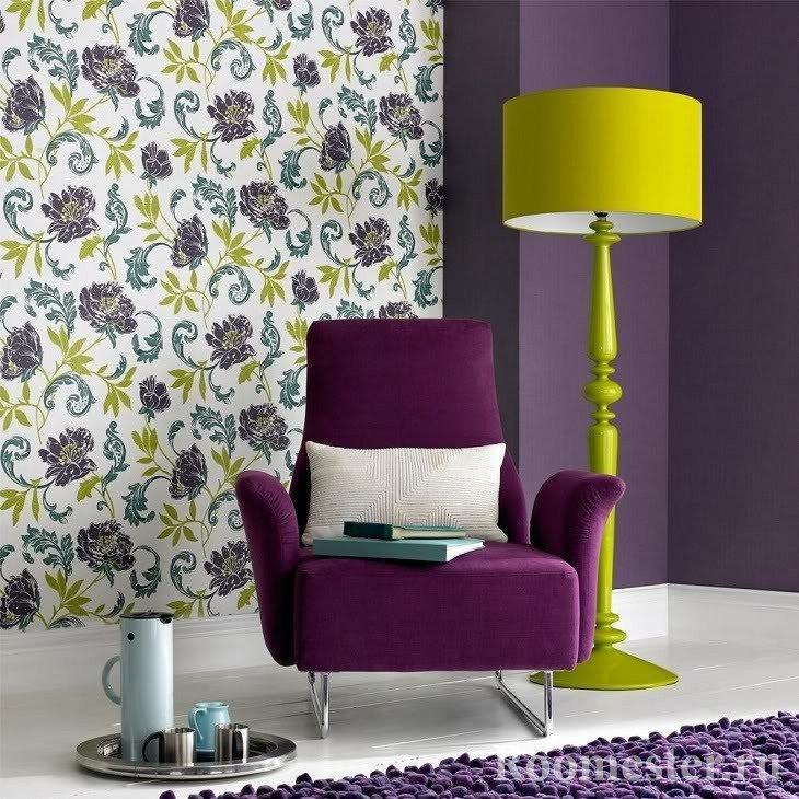 Фиолетовый и желтый цвет в интерьере