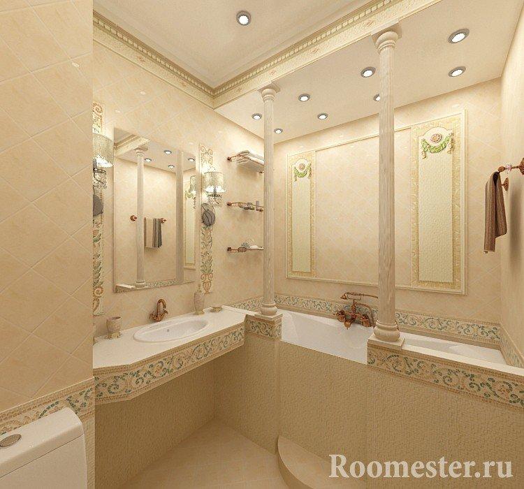 Ванная комната отделанная керамической плиткой