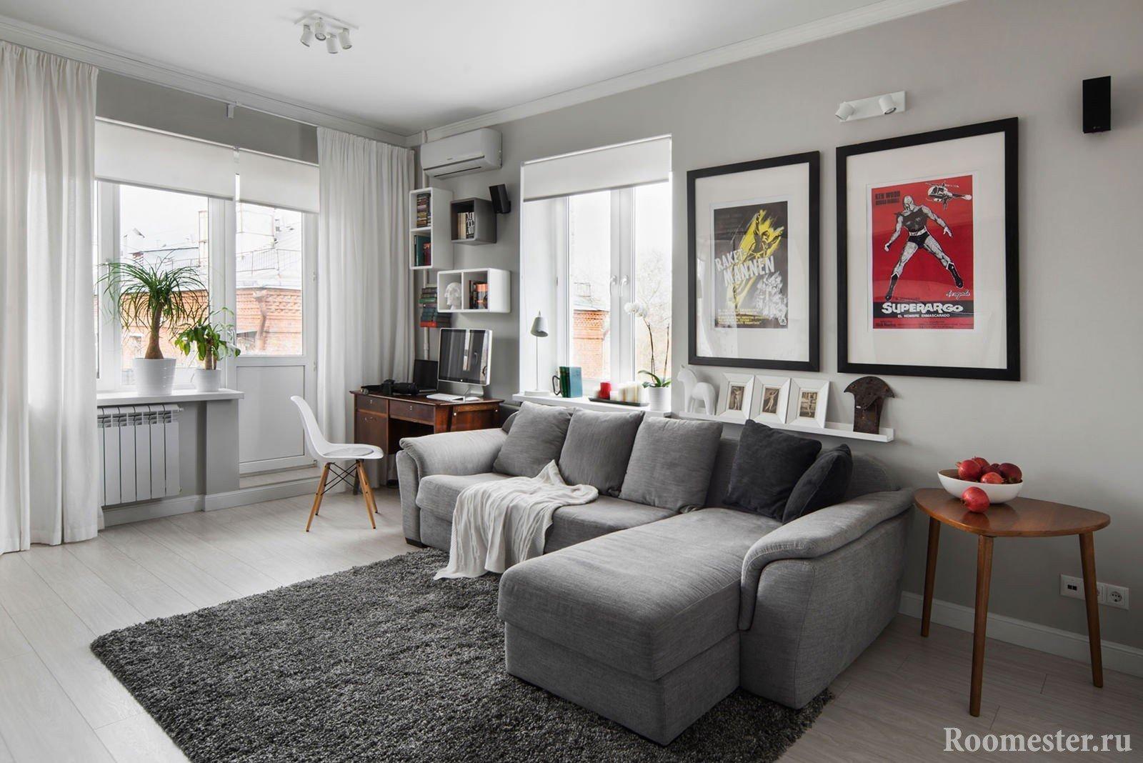 Гостиная серого цвета с рабочим местом