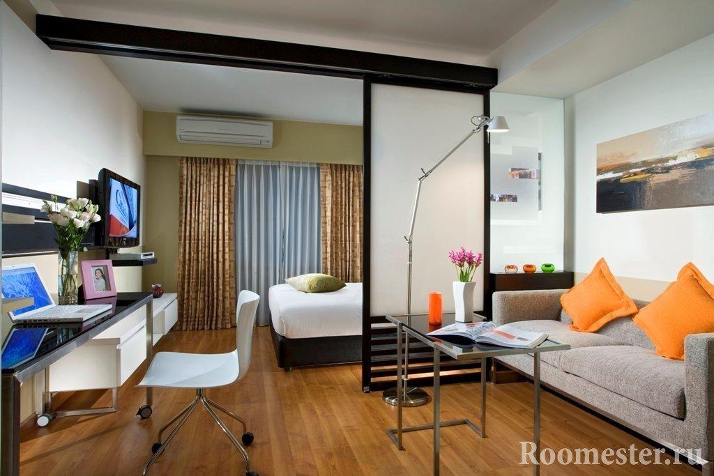 Перегородки в гостиной и спальне
