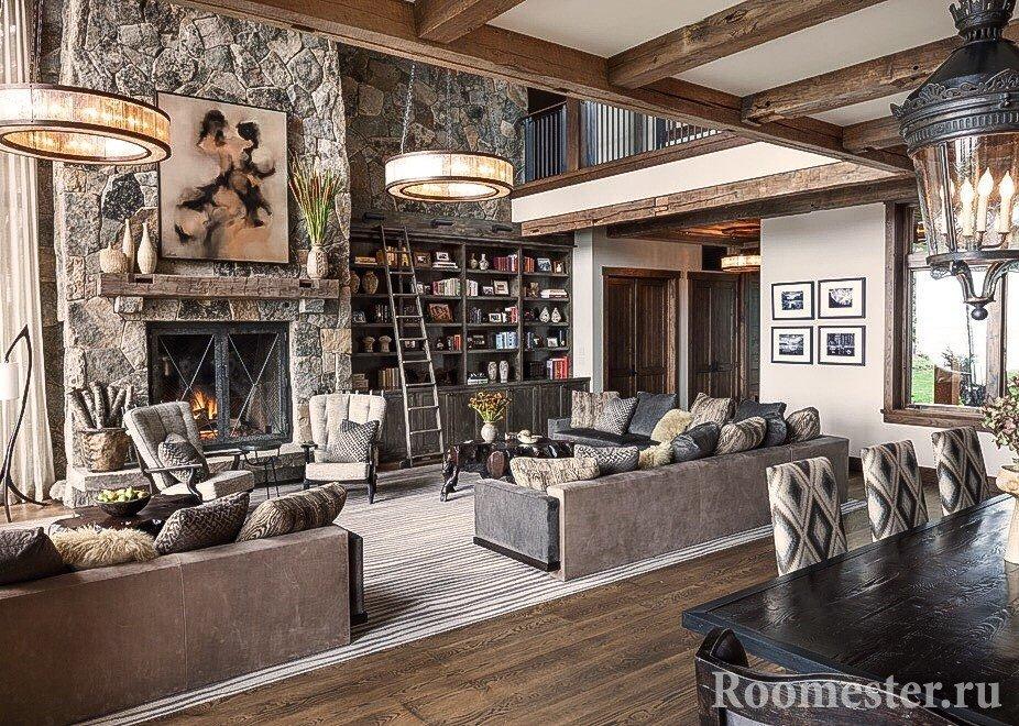 Гостиная комната в стиле шале