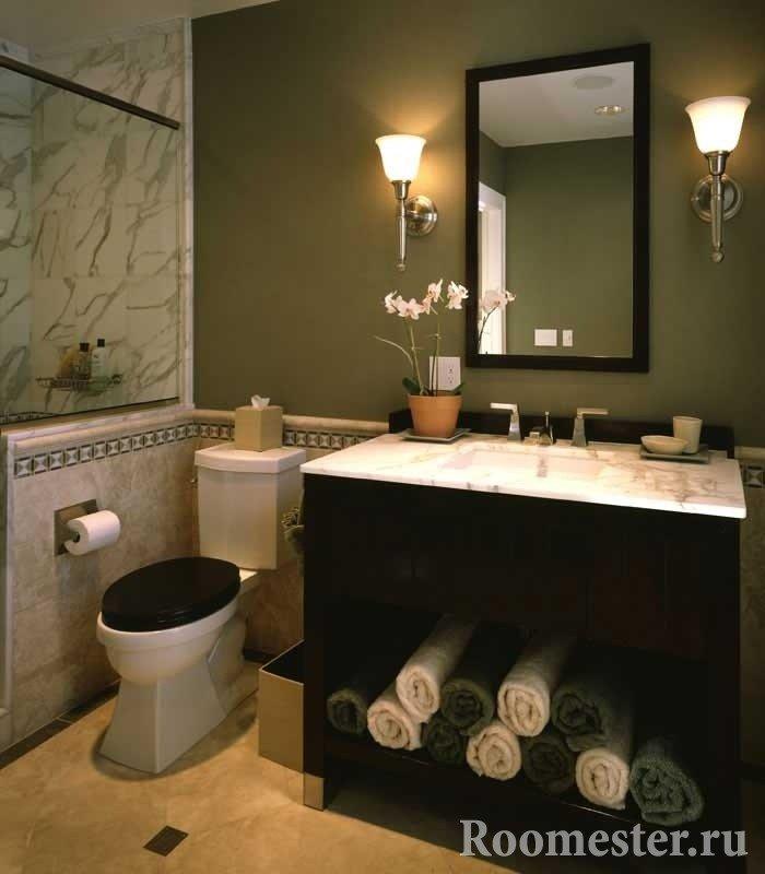 Ванная в темно-оливковом цвете