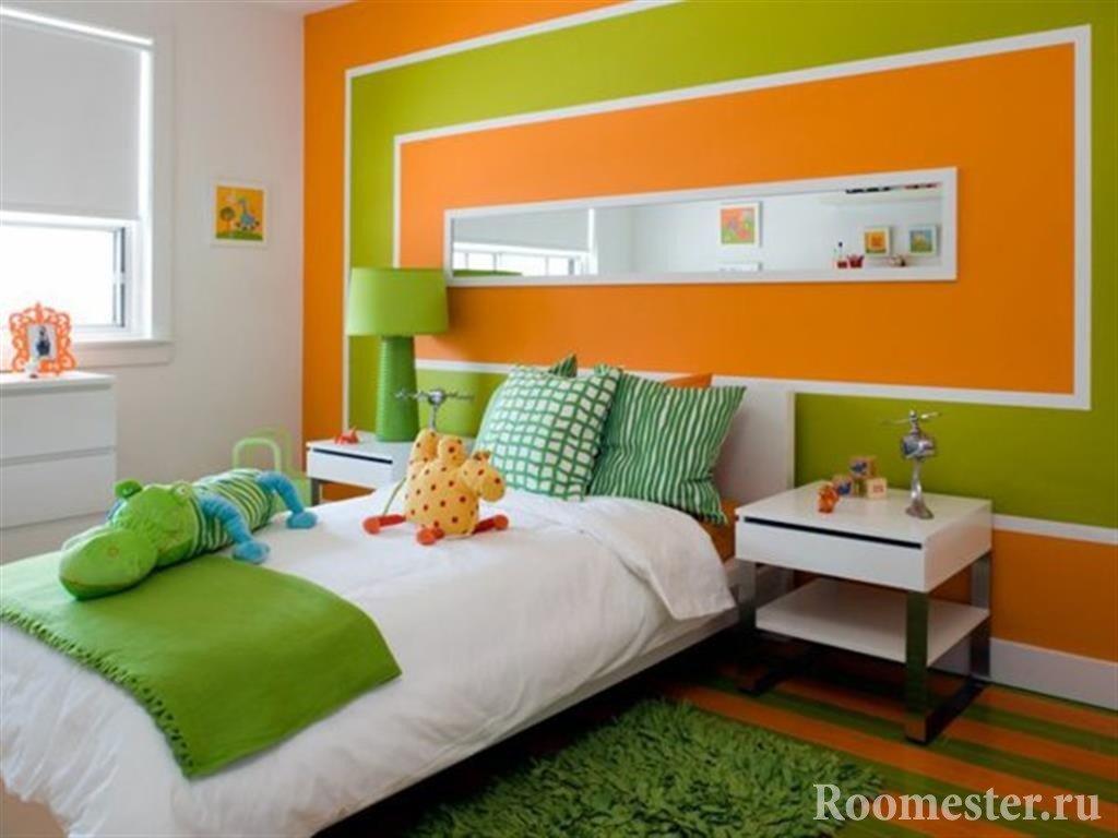 Зеленый и оранжевый цвет, сочетание в детской