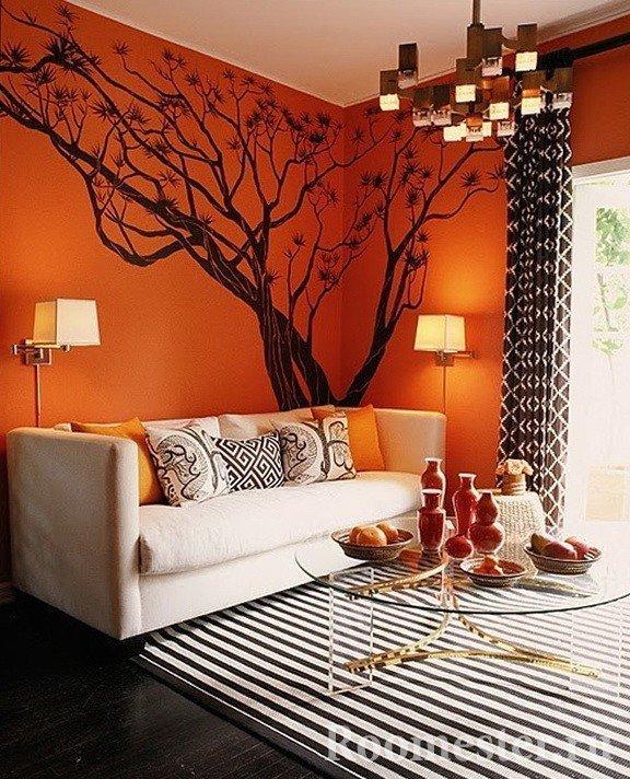Черное дерево на оранжевом фоне