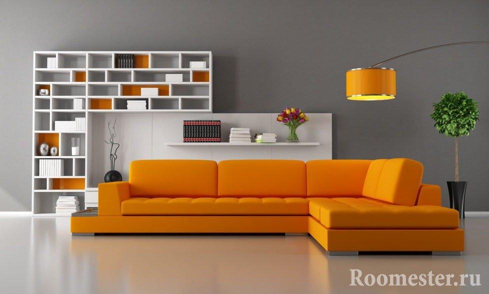 Оранжевая мебель в гостиной