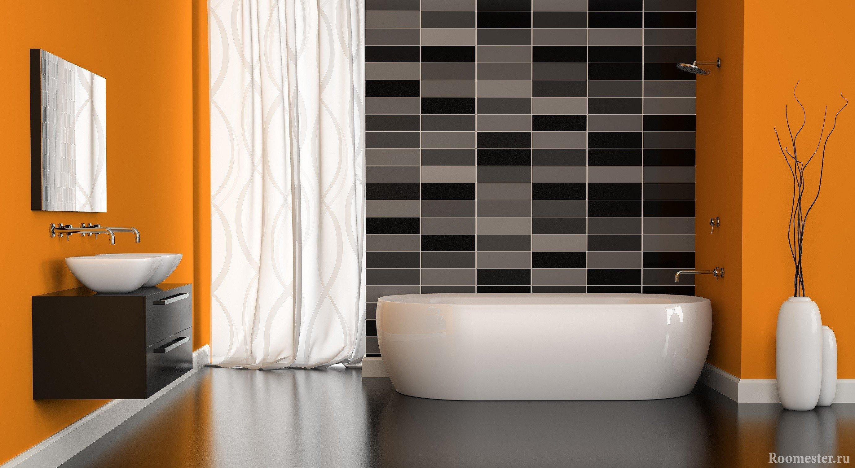 Черно-оранжевая ванная