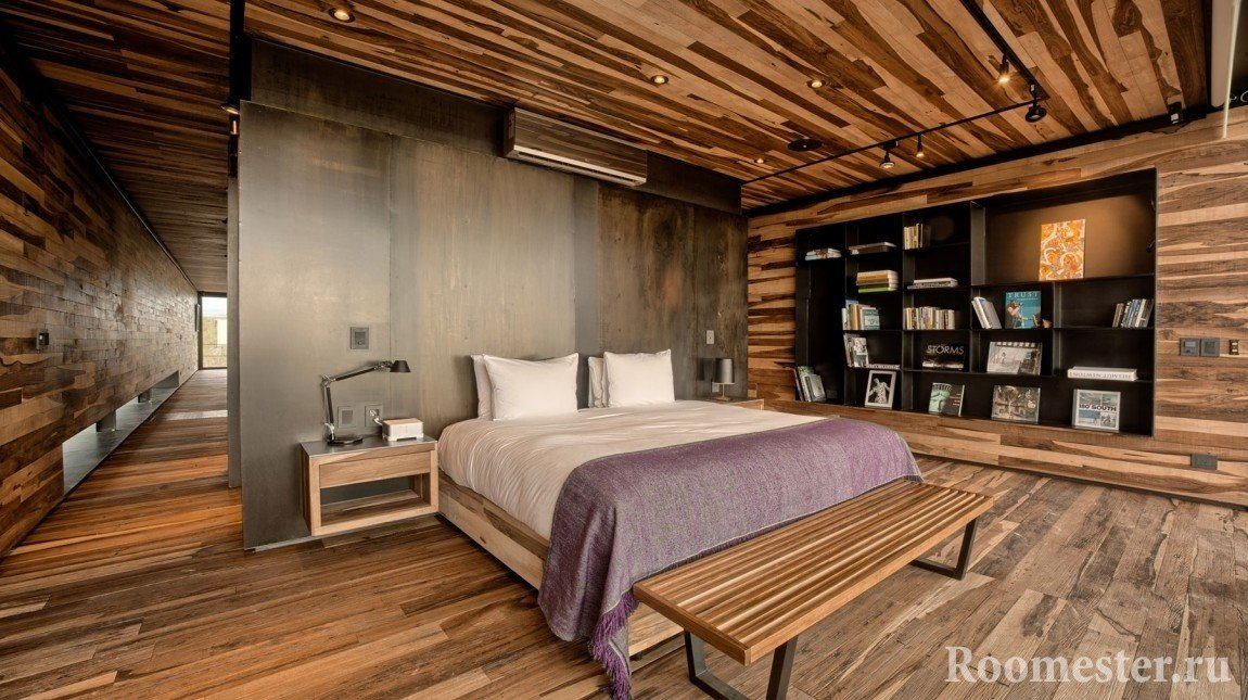 Wood paneled walls, floors and ceiling