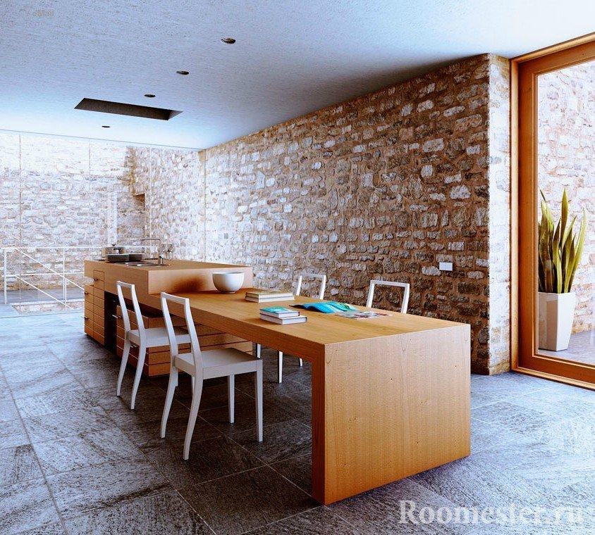 Рабочая поверхность и стол из дерева