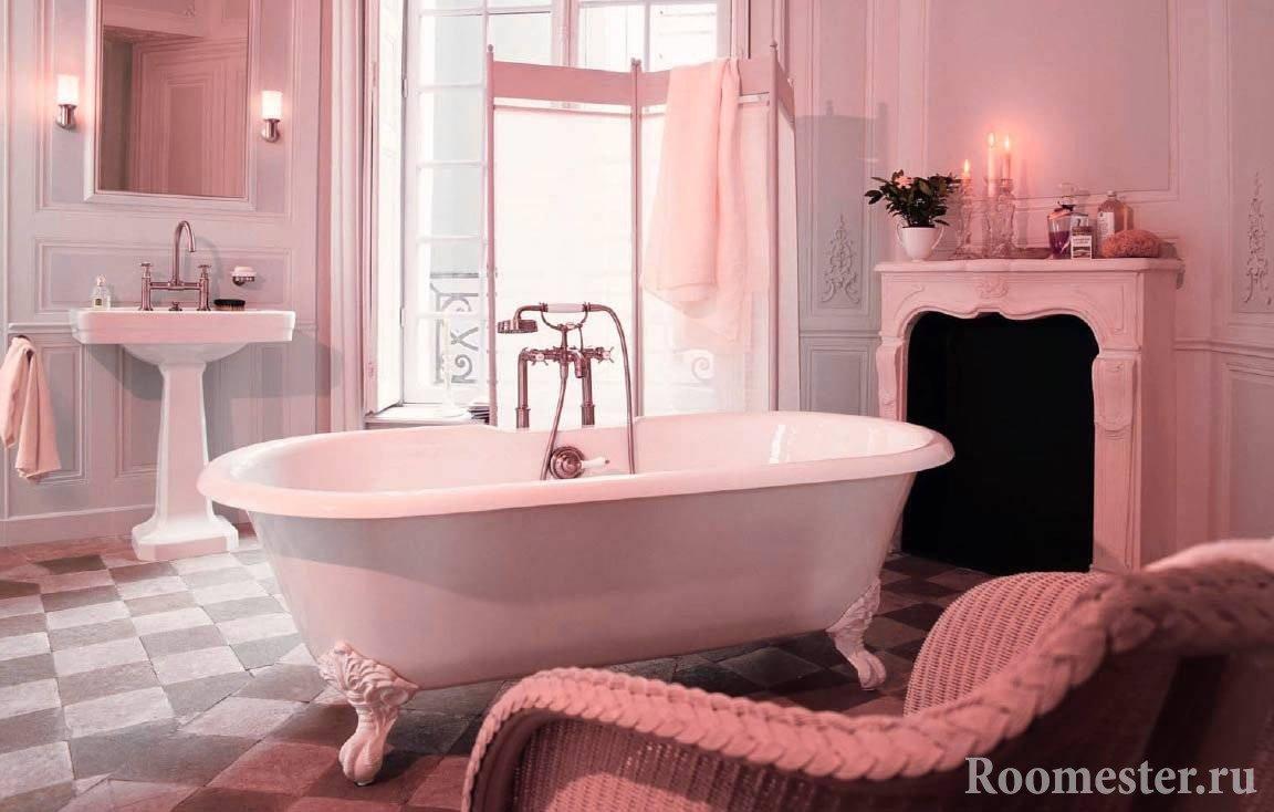 Шикарная ванная в розовых оттенках