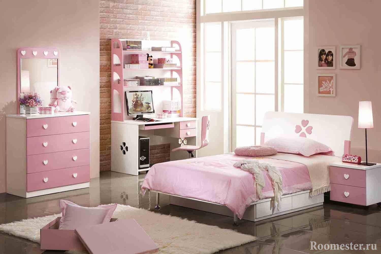 Дизайн спальни для подростка в розовом цвете