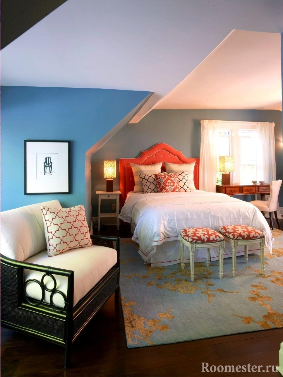 Red headboard and blue-gray walls