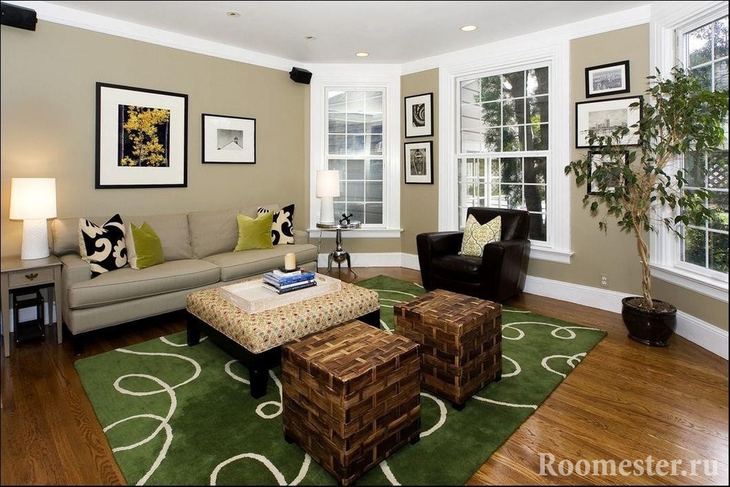 Green carpet and shades of olive