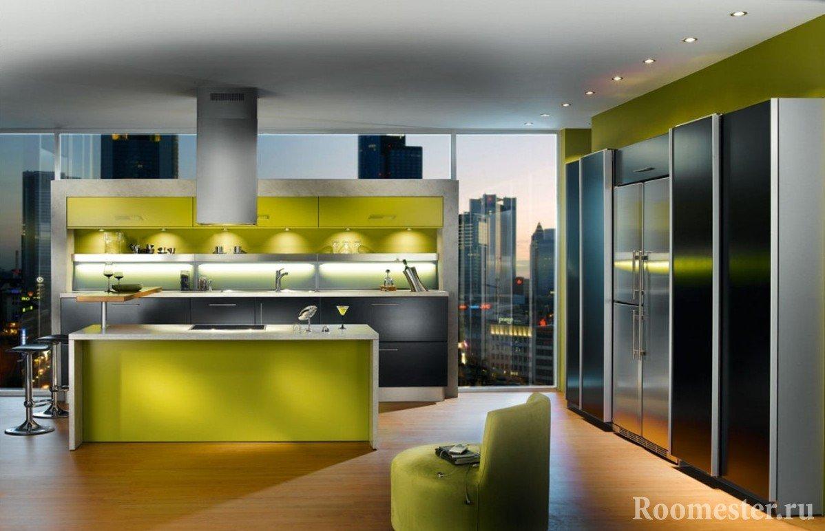 Черно-зеленый интерьер кухни