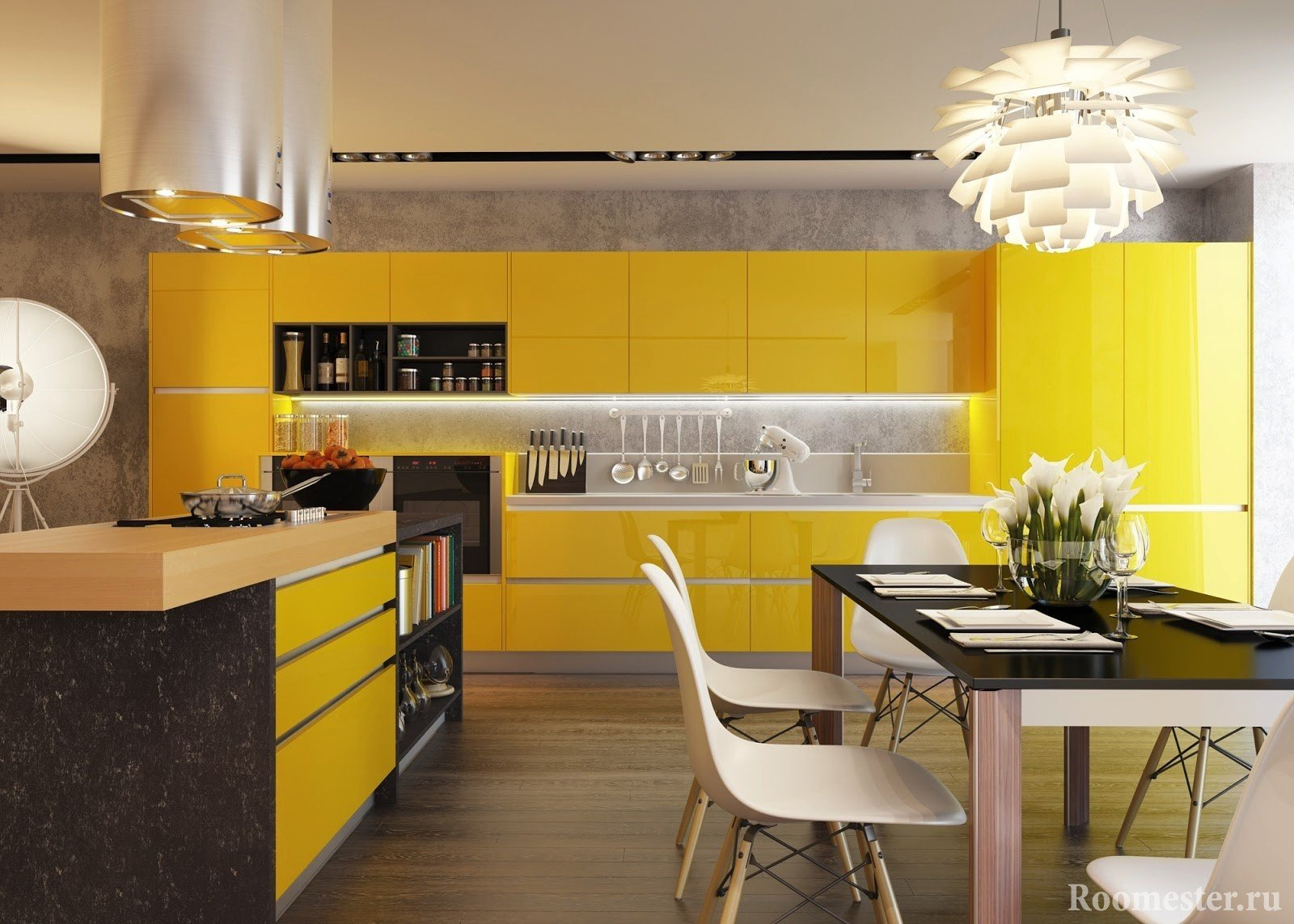 Kitchen with yellow facades and black table