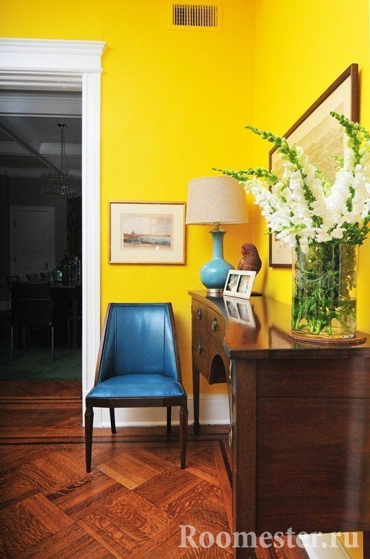 Bright yellow wall uplifting