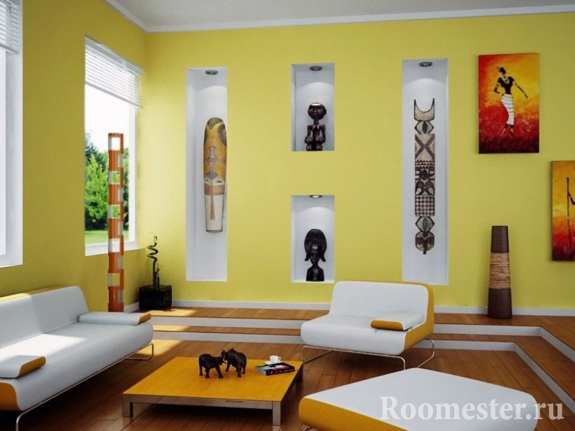 Yellow interior with tree