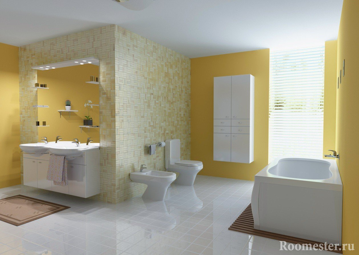 Yellow white bathroom