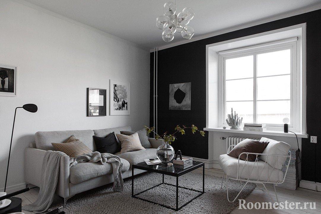 Сочетание черной и белой стены