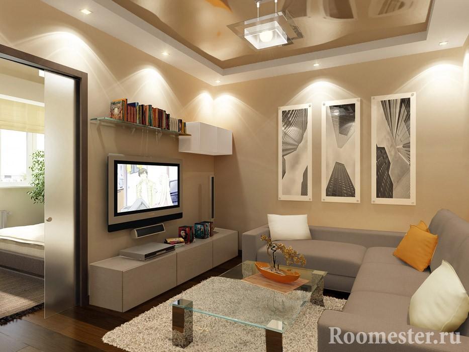 Интерьер гостиной комнаты в 15 кв м