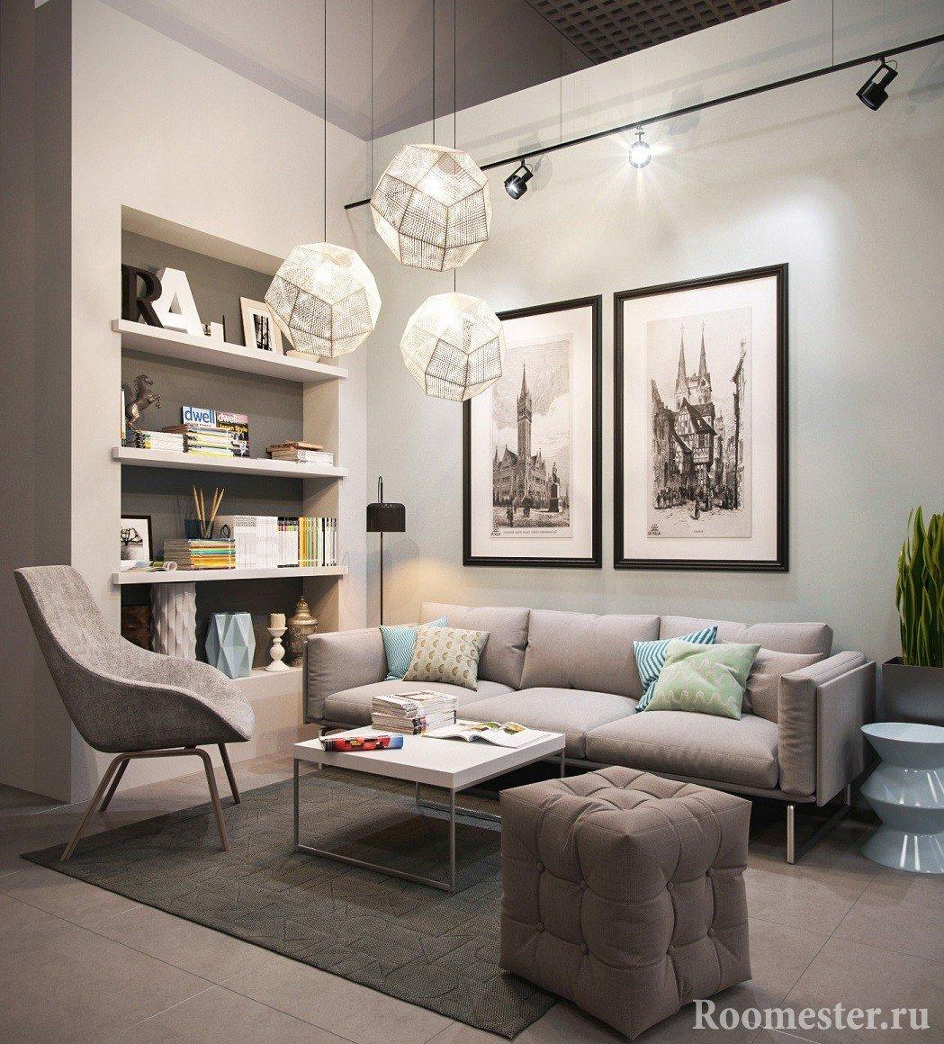 Гостиная с диваном и креслом