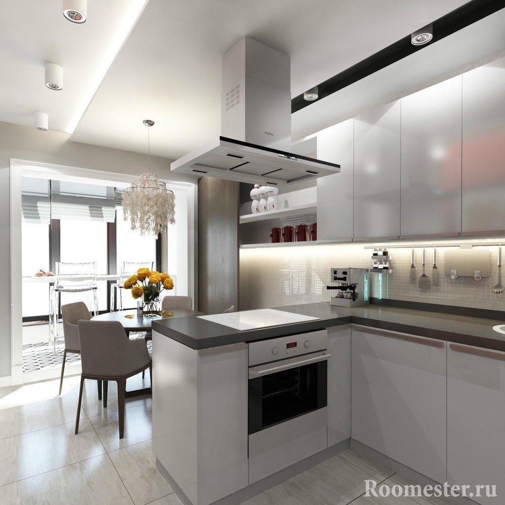 Барная стойка на балконе совмещенном с кухней