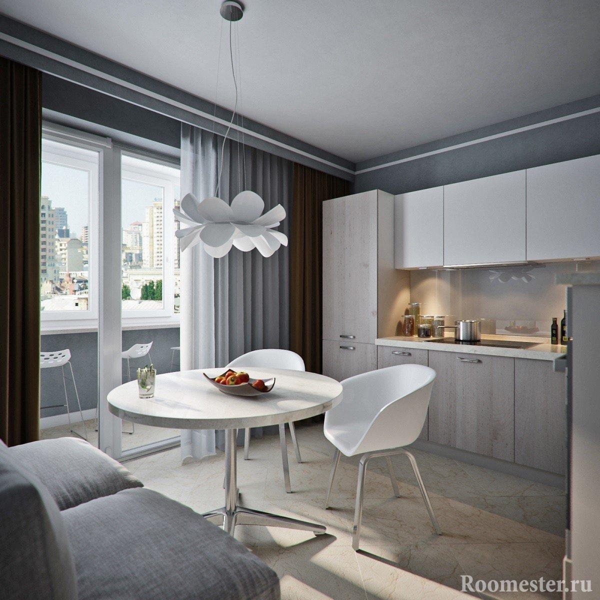 Панорамное остекление на лоджию из кухни