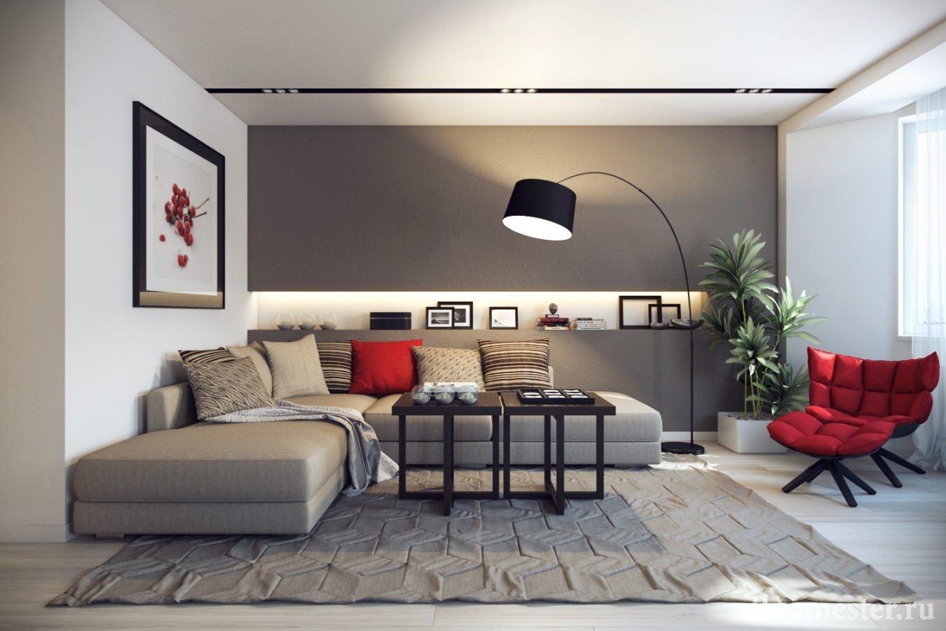 Белый и серый цвета в интерьере гостиной