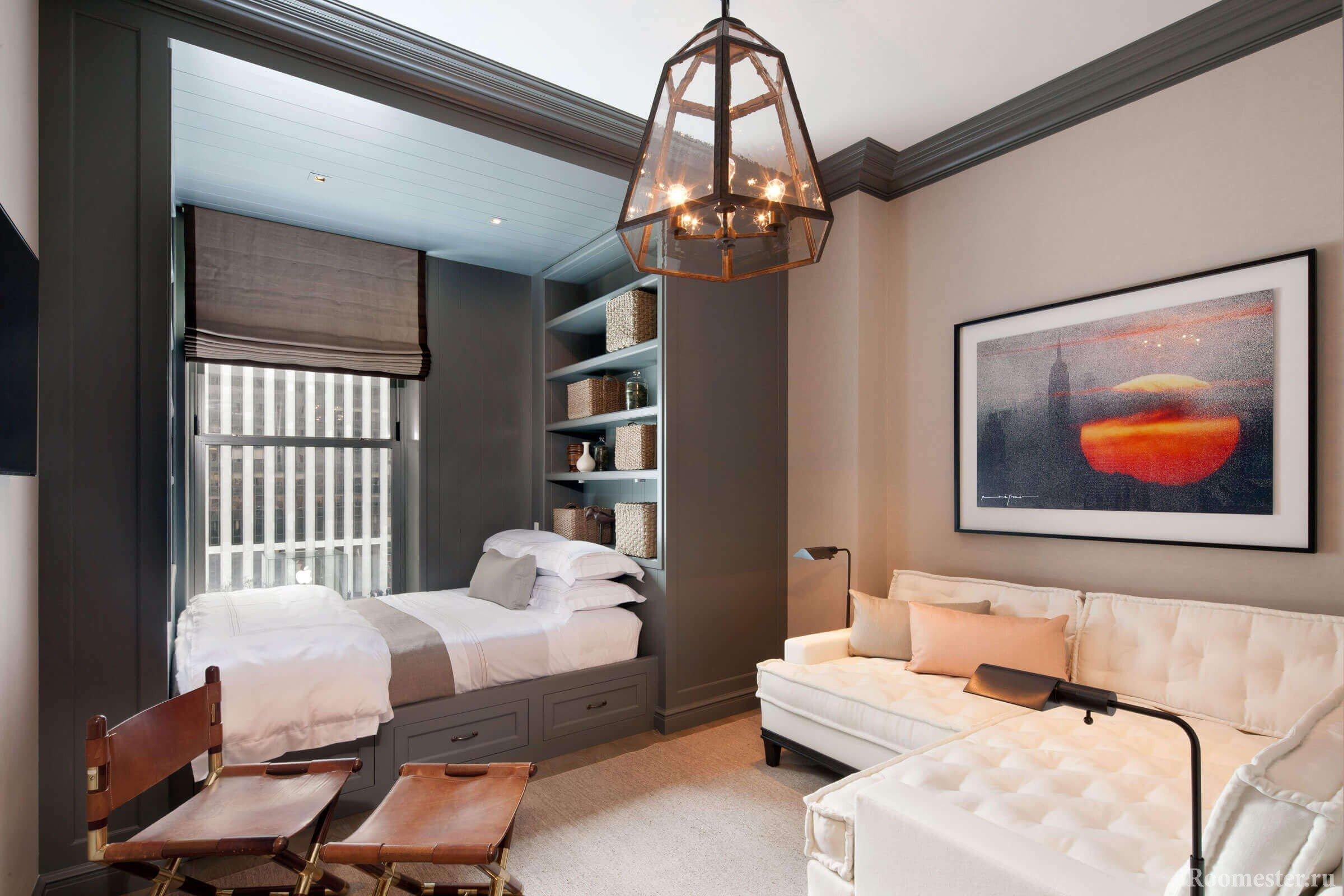 Выделение зоны для кровати в зале