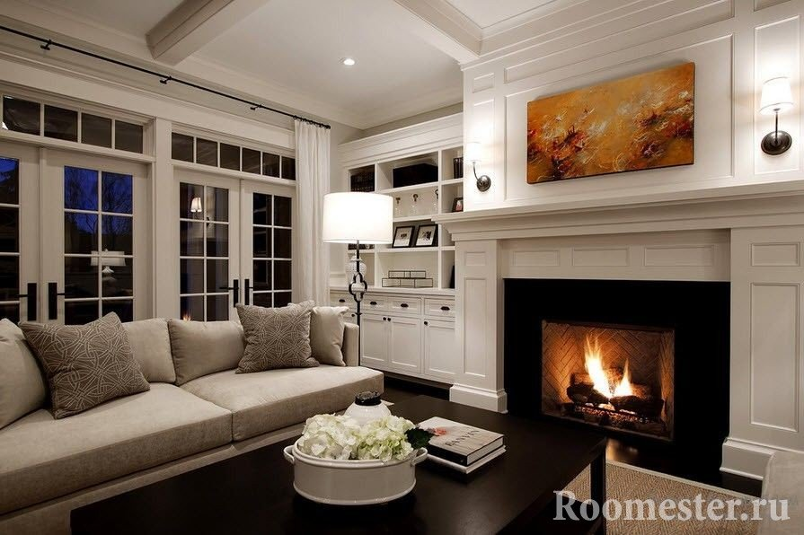 Guest area with fireplace