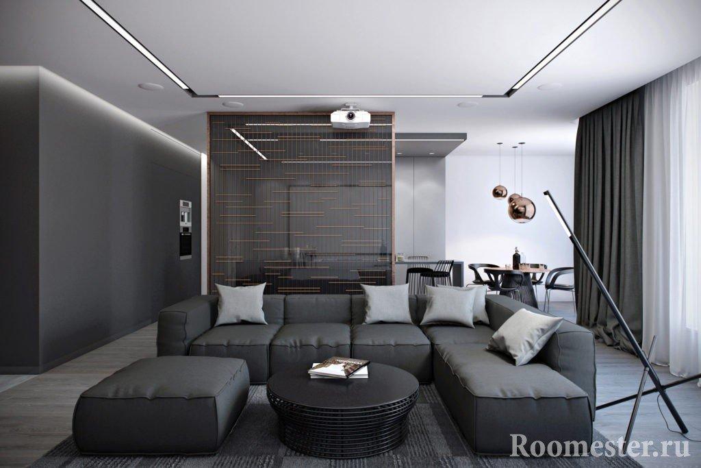 Серый интерьер зала