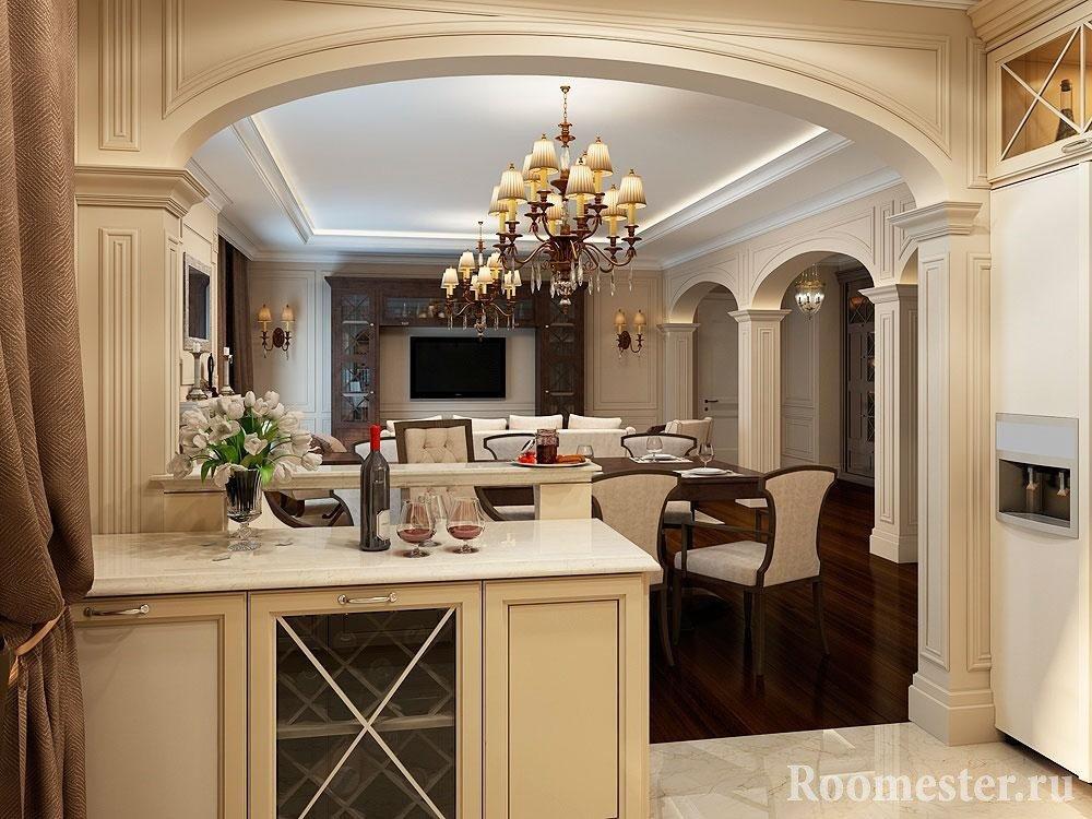 Арка в классической кухне